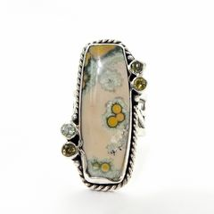 Echo of the Dreamer Sterling Silver Rectangle Ocean Jasper Ring - product images 1 of 6