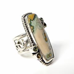 Echo of the Dreamer Sterling Silver Rectangle Ocean Jasper Ring - product images 2 of 6