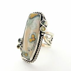 Echo of the Dreamer Sterling Silver Rectangle Ocean Jasper Ring - product images 3 of 6