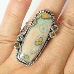 Echo of the Dreamer Sterling Silver Rectangle Ocean Jasper Ring - product images 6 of 6