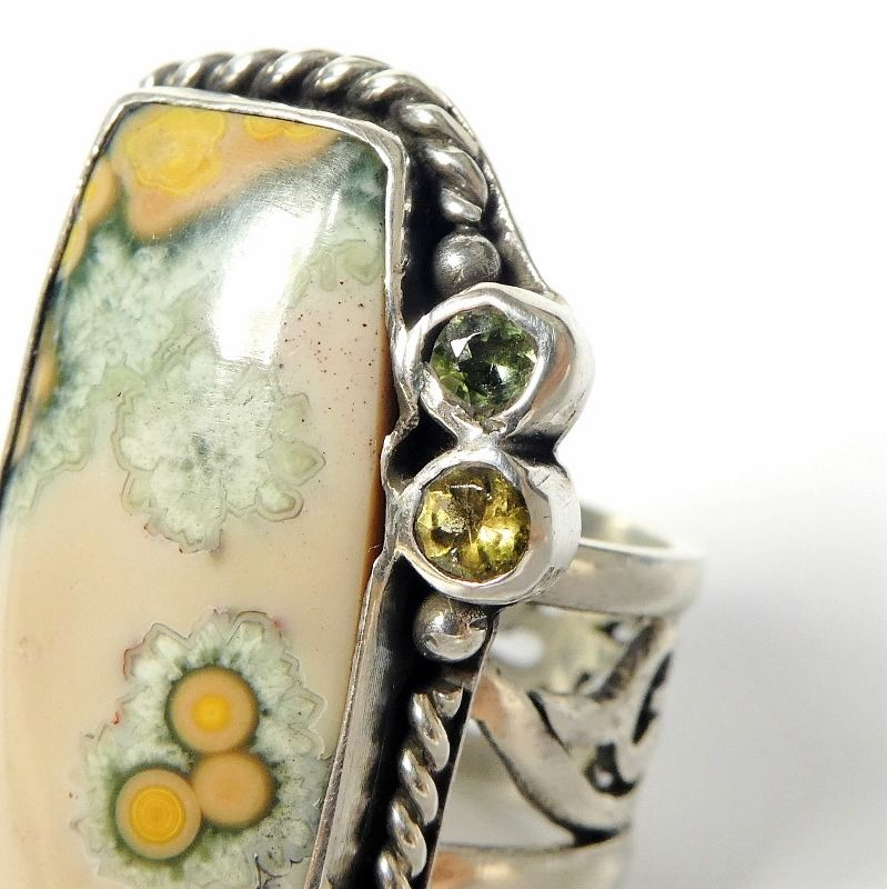 Echo of the Dreamer Sterling Silver Rectangle Ocean Jasper Ring - product image