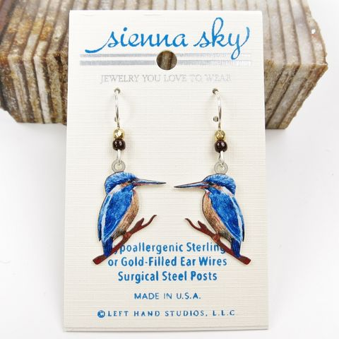 Sienna,Sky,Earrings,-,UV,Printed,Kingfisher,Bird,Sienna Sky Earrings, Adajio earrings Sienna Sky, Sienna Sky Colorado