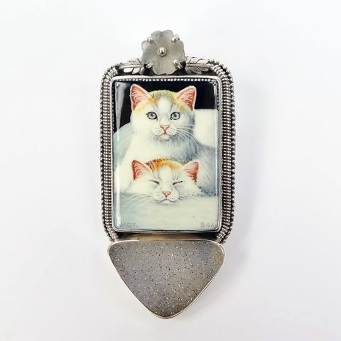 Amy,Kahn,Russell,-,Russian,Hand,Painting,Two,Kittens,Drusy,Pin,Pendant,Amy Kahn Russell, Russian Hand Painting Cat Brooch