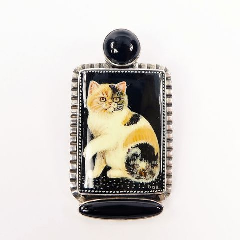 Amy,Kahn,Russell,-,Russian,Hand,Painting,Black,Calico,Cat,Pin,Pendant,Amy Kahn Russell, Russian Hand Painting Cat Brooch