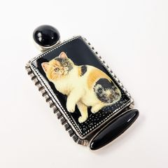Amy Kahn Russell - Russian Hand Painting Black Calico Cat Pin Pendant - product images 3 of 9