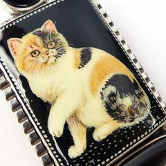 Amy Kahn Russell - Russian Hand Painting Black Calico Cat Pin Pendant - product images 4 of 9