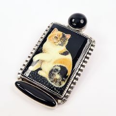 Amy Kahn Russell - Russian Hand Painting Black Calico Cat Pin Pendant - product images 2 of 9