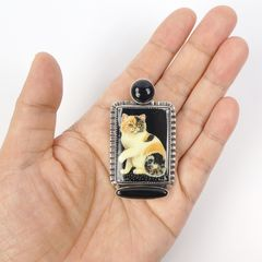 Amy Kahn Russell - Russian Hand Painting Black Calico Cat Pin Pendant - product images 9 of 9