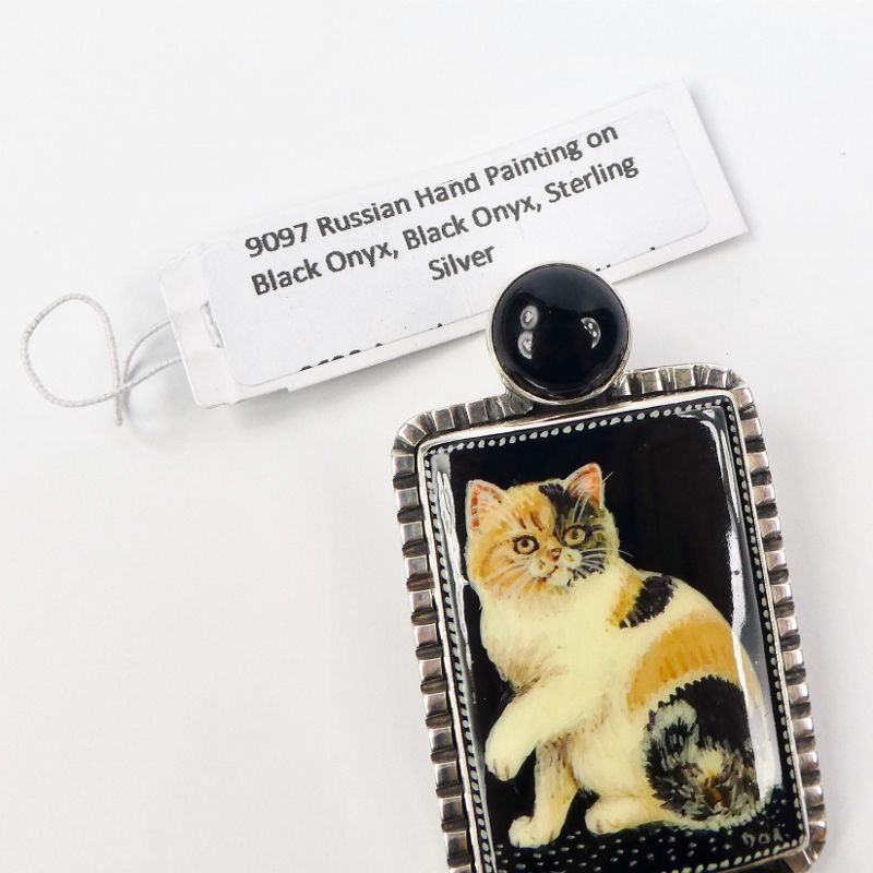 Amy Kahn Russell - Russian Hand Painting Black Calico Cat Pin Pendant - product image
