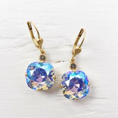 Catherine Popesco Large Crystal Earrings in Light Sapphire Shimmer - product images 1 of 4