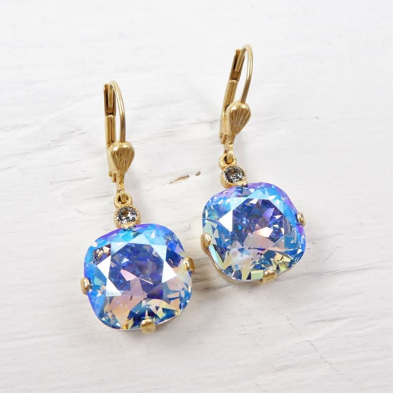 Catherine Popesco Large Crystal Earrings in Light Sapphire Shimmer - product image