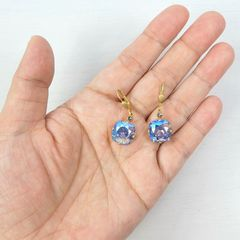 Catherine Popesco Large Crystal Earrings in Light Sapphire Shimmer - product images 4 of 4