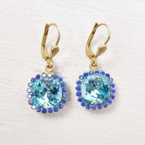 Catherine,Popesco,Stone,Border,Crystal,Earrings,in,Electric,Blue,Catherine Popesco earrings, La Vie Parisienne earrings, Catherine Popesco Jewelry, Catherine Popesco Paris