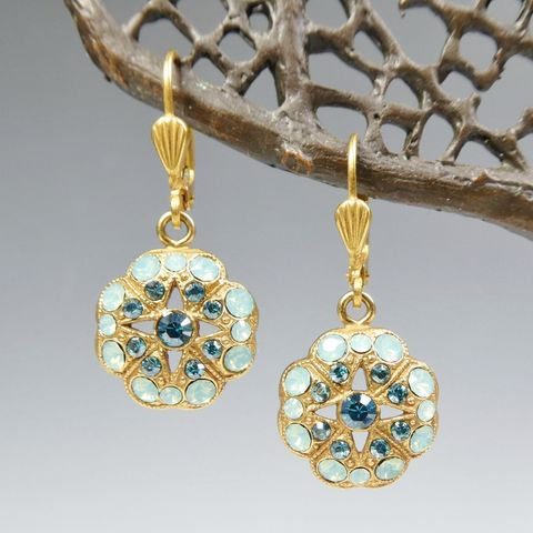 Catherine,Popesco,Crystals,Floral,Earrings,with,Star,Center,in,Pacific,Opal,Catherine Popesco earrings, La Vie Parisienne earrings, Catherine Popesco Jewelry, Catherine Popesco Paris
