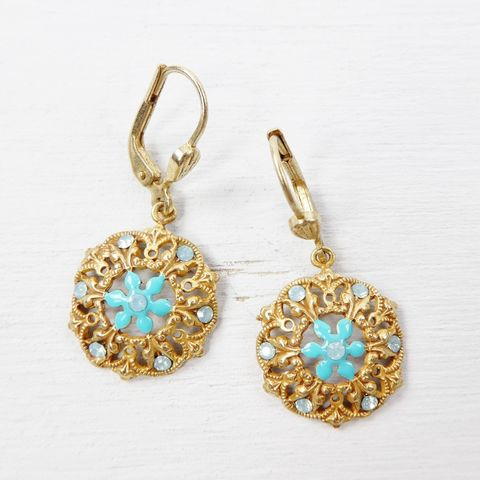 Catherine,Popesco,Filigree,Earrings,with,Turquoise,Enamel,and,Swarovski,Crystals,Catherine Popesco earrings, La Vie Parisienne earrings, Catherine Popesco Jewelry, Catherine Popesco Paris