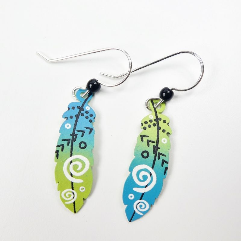 Sienna Sky Earrings - Feather with Arrows in Blue and Green - product image