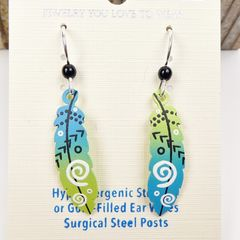 Sienna Sky Earrings - Feather with Arrows in Blue and Green - product images 3 of 5
