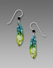 Sienna Sky Earrings - Feather with Arrows in Blue and Green - product images  of