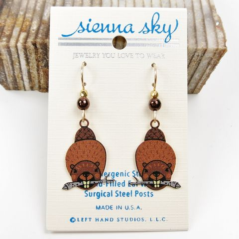 Sienna,Sky,Earrings,-,UV,Printed,Beaver,with,Stick,Sienna Sky Earrings,  Sienna Sky beaver Earrings, Sienna Sky 2055