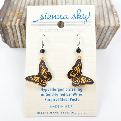 Sienna,Sky,Earrings,-,3D,Orange,Monarch,Butterfly,Sienna Sky Earrings,  Sienna Sky butterfly Earrings, Sienna Sky 1433