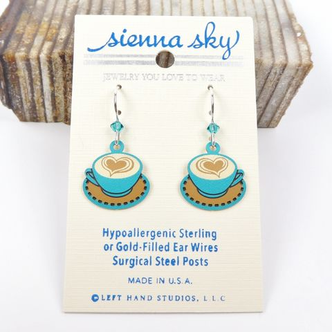 Sienna,Sky,Earrings,-,Latte,Heart,Coffee,Cup,Sienna Sky Earrings,  Sienna Sky heart coffee Earrings, Sienna Sky 1943