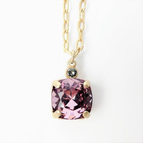 Catherine,Popesco,Small,Square,Crystal,Pendant,Necklace,in,Vintage,Pink,Catherine Popesco Small Square Crystal Pendant Necklace in Petal, La Vie Parisienne Necklace, Catherine Popesco Jewelry, Catherine Popesco Paris