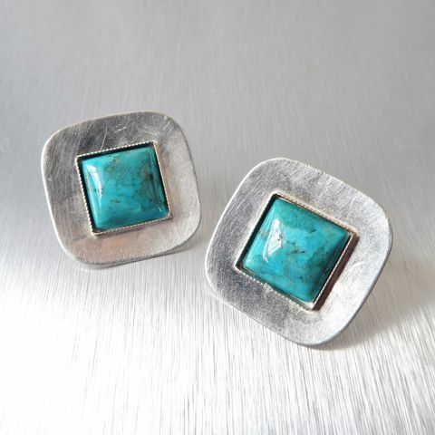 Marjorie,Baer,Silver,Concave,Square,with,Turquoise,Earrings,Marjorie Baer clip post earrings, Marjorie Baer Silver Concave Square with Turquoise Earrings