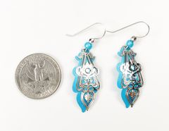 Adajio Earrings - Aqua Drop Shiny Silver Ornate Art Deco Overlay with Blue Bead - product images 3 of 3