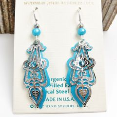 Adajio Earrings - Aqua Drop Shiny Silver Ornate Art Deco Overlay with Blue Bead - product images 2 of 3