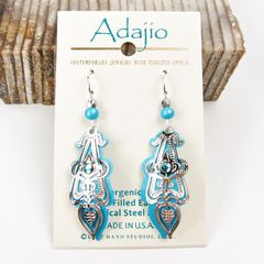 Adajio Earrings - Aqua Drop Shiny Silver Ornate Art Deco Overlay with Blue Bead - product images 1 of 3