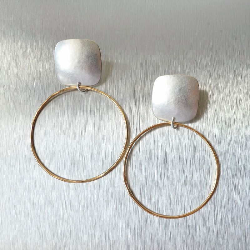 Marjorie Baer Rounded Square with Large Ring Earrings - product image