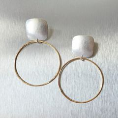 Marjorie Baer Rounded Square with Large Ring Earrings - product images 2 of 8