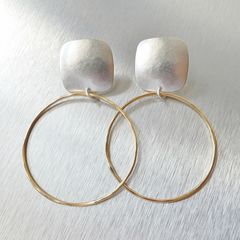 Marjorie Baer Rounded Square with Large Ring Earrings - product images 1 of 8