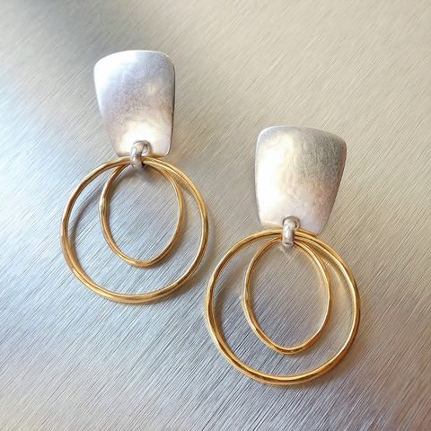 Marjorie,Baer,Tapered,Rectangle,with,Layered,Rings,Earrings,Marjorie Baer Tapered Rectangle with Layered Rings Earrings