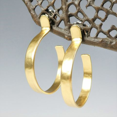 Marjorie,Baer,Modern,Post,Hoop,Earring,in,Hammered,Brass,Marjorie Baer Modern Post Hoop Earring in Hammered Brass