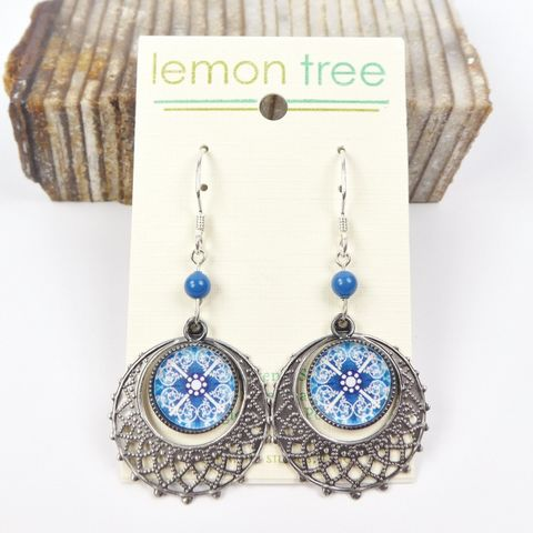 Lemon,Tree,-,Lace,With,Blue,Kaleidoscope,Print,Disc,Earrings,Lemon Tree Earrings Colorado, Lemon Tree Earrings Lace With Blue Kaleidoscope Print Disc Earrings