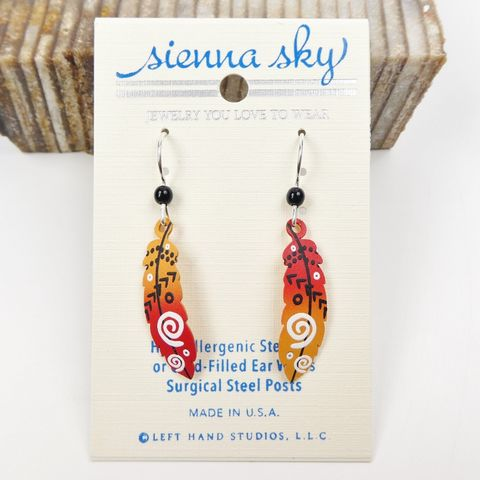 Sienna,Sky,Earrings,-,Feather,with,Arrows,in,Red,and,Orange,Sienna Sky Earrings,  Sienna Sky feather Earrings, Sienna Sky 2004