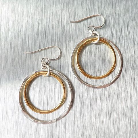 Marjorie,Baer,Tiered,Hammered,Rings,Earrings,Marjorie Baer Tiered Hammered Rings Earrings