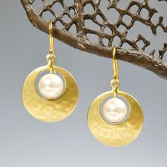 Marjorie Baer Small Cutout Disc with Pearl Earrings - product images 8 of 8
