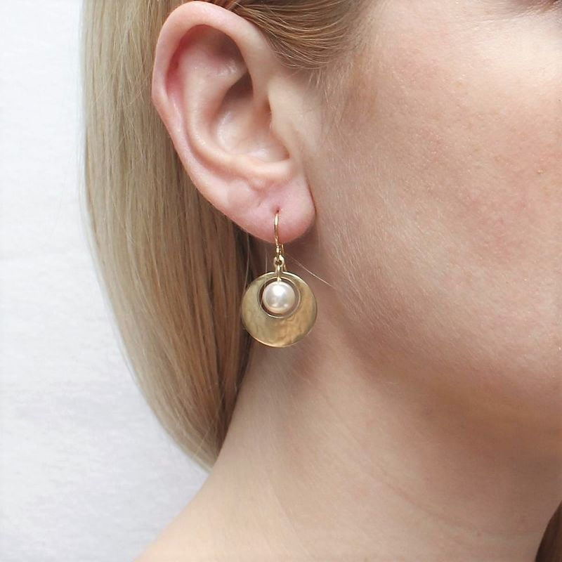 Marjorie Baer Small Cutout Disc with Pearl Earrings - product image