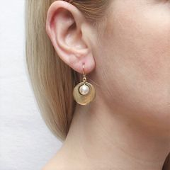 Marjorie Baer Small Cutout Disc with Pearl Earrings - product images 7 of 8