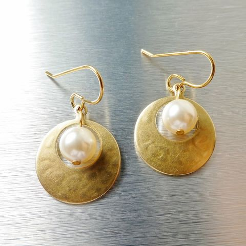 Marjorie,Baer,Small,Cutout,Disc,with,Pearl,Earrings,Marjorie Baer Small Cutout Disc with Pearl Earrings