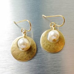 Marjorie Baer Small Cutout Disc with Pearl Earrings - product images 1 of 8