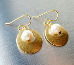 Marjorie Baer Small Cutout Disc with Pearl Earrings - product images 2 of 8