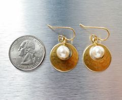 Marjorie Baer Small Cutout Disc with Pearl Earrings - product images 3 of 8