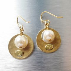 Marjorie Baer Small Cutout Disc with Pearl Earrings - product images 4 of 8