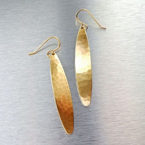 Marjorie,Baer,Hammered,Brass,Long,Leaf,Earrings,Marjorie Baer Hammered Brass Long Leaf Earrings