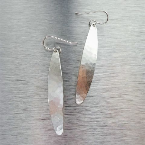 Marjorie,Baer,Silver,Plated,Hammered,Brass,Long,Leaf,Earrings,Marjorie Baer Silver Plated Hammered Brass Long Leaf Earrings