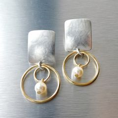Marjorie Baer Rounded Rectangle with Double Rings and Pearl Earrings - product images 2 of 10