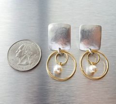 Marjorie Baer Rounded Rectangle with Double Rings and Pearl Earrings - product images 4 of 10
